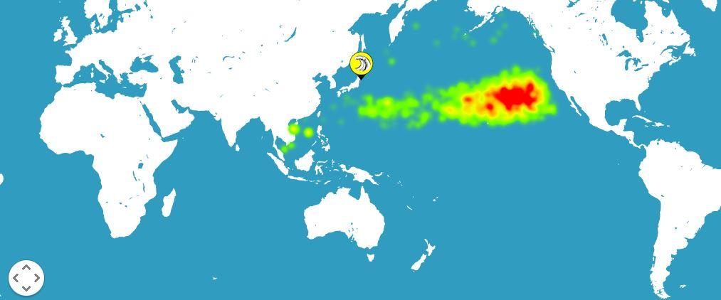 Распространение отходов плавающих на поверхности от берегов Японии